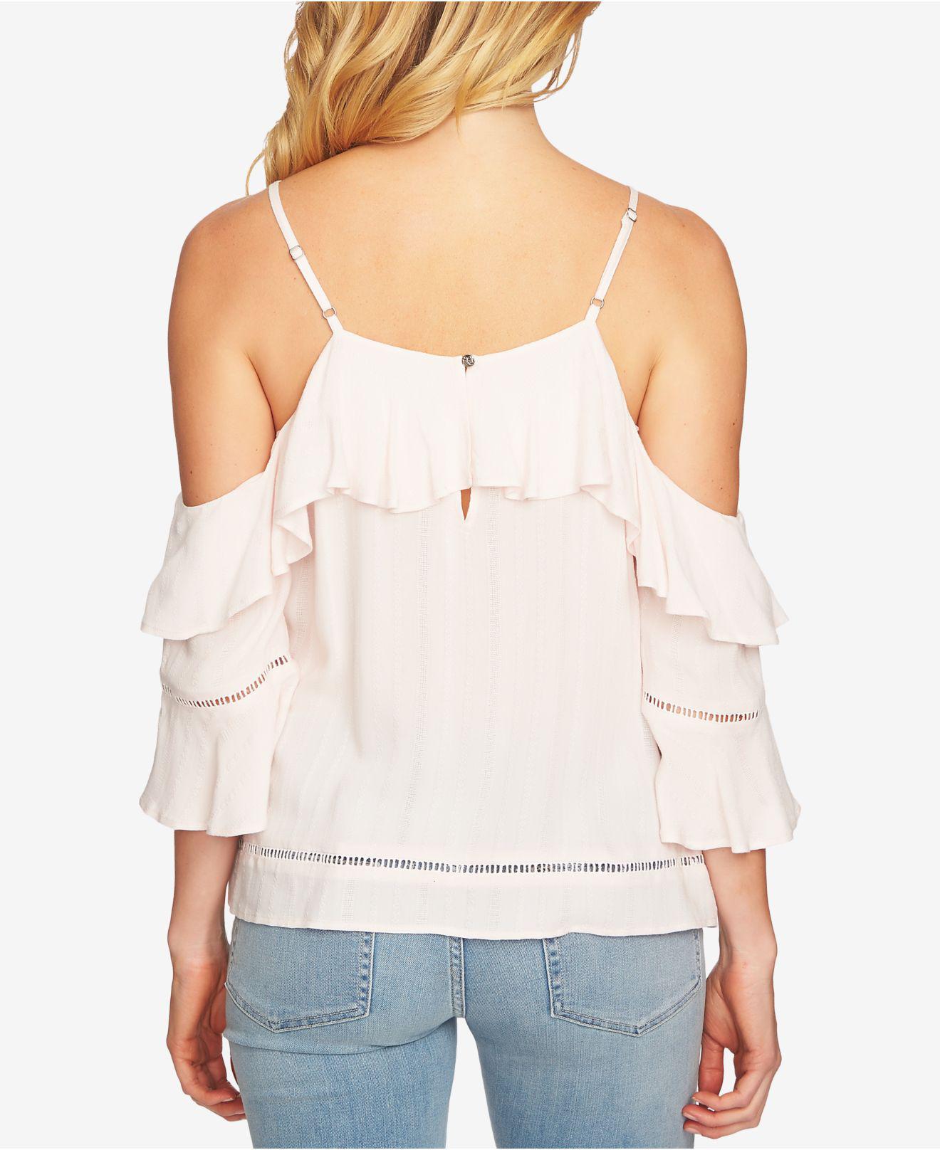 a003f1ff5baf4 Lyst - Cece Ruffled Cold-shoulder Top in Pink