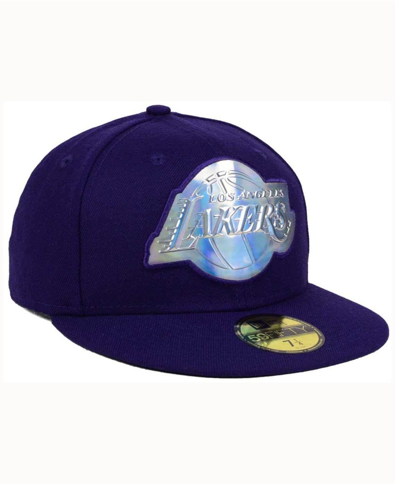 c99777b97 ... closeout lyst ktz los angeles lakers iridescent 59fifty cap in purple  for men 63c22 7756a