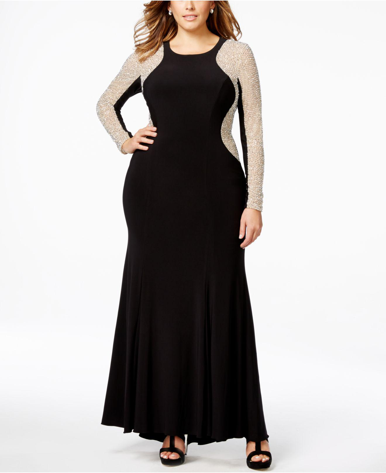 Lyst - Xscape Plus Size Beaded Illusion Hourglass Gown in Black