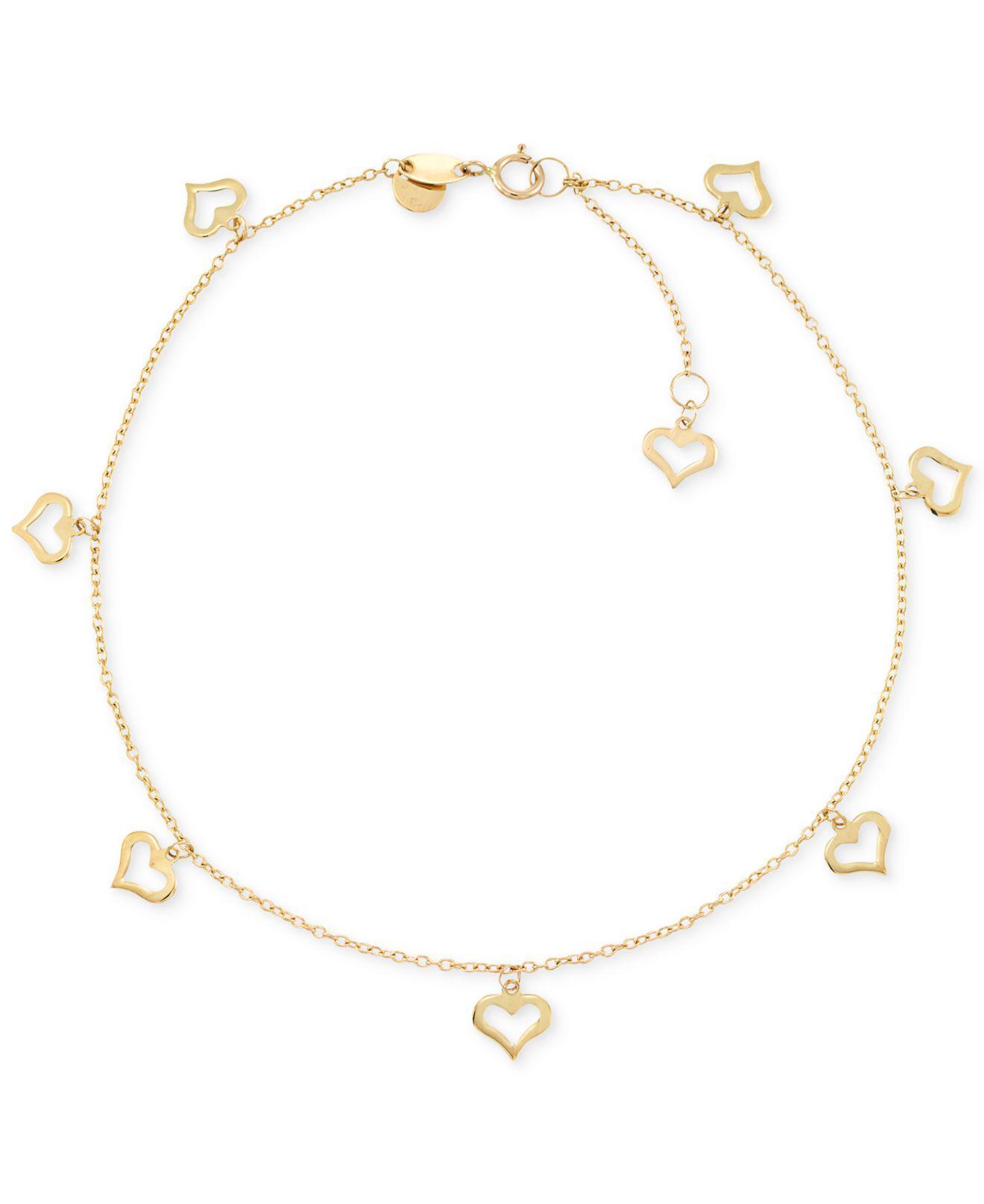 c0887501518d88 Lyst - Macy's Heart Charm Anklet In 14k Gold in Metallic