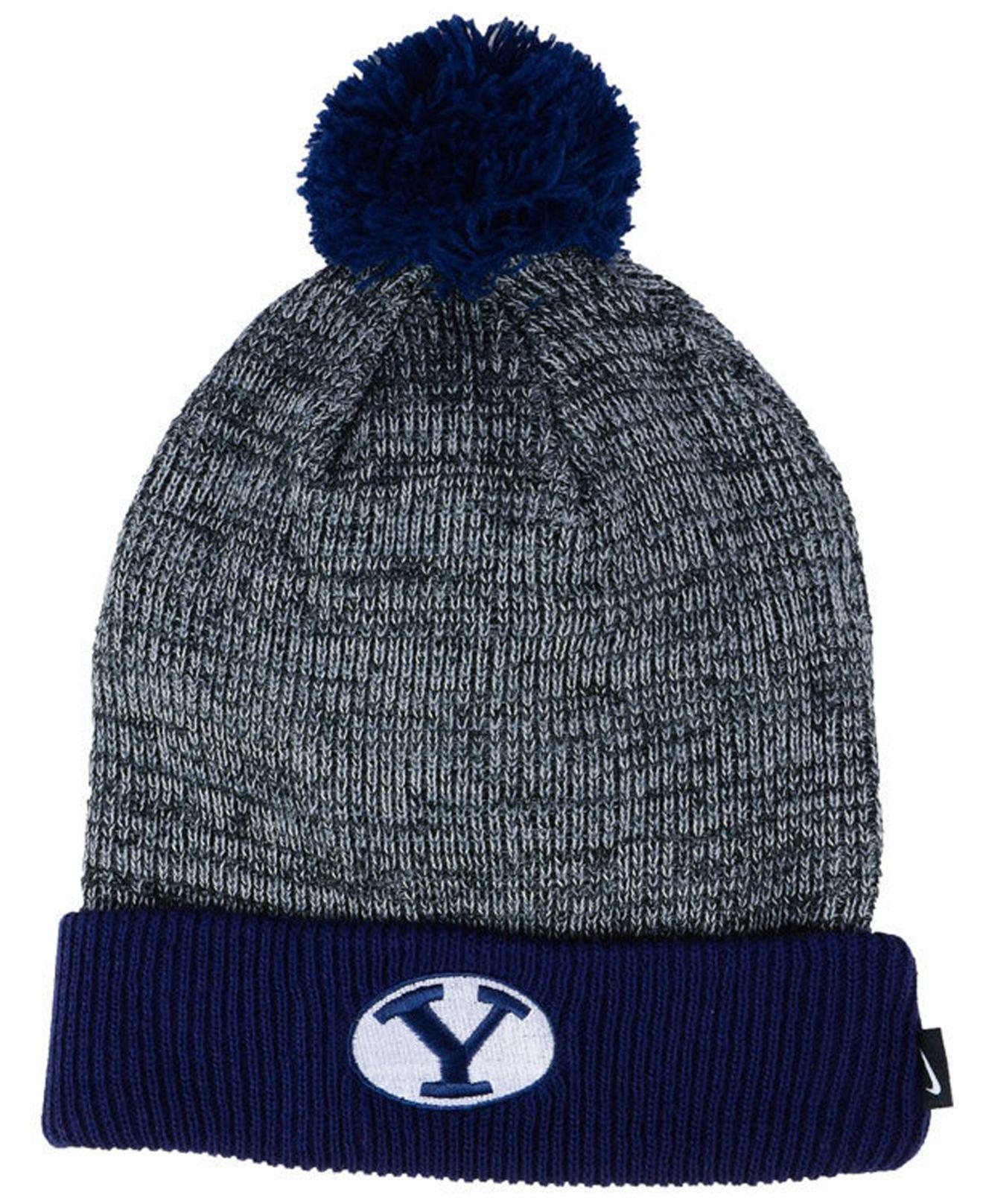 69504515215 Lyst - Nike Heather Pom Knit Hat in Blue