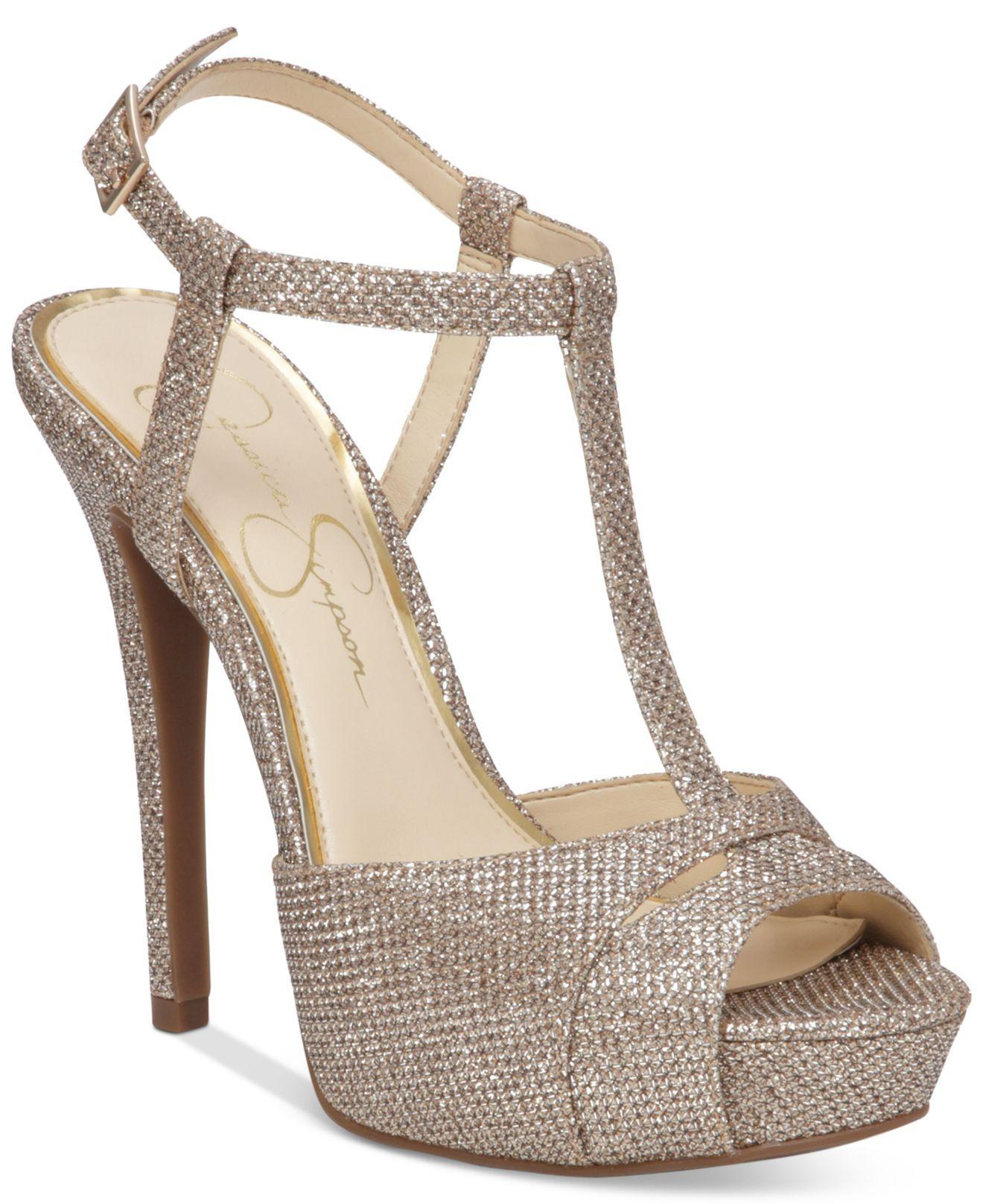 Jessica Simpson Barretta Platform Sandals In Metallic Lyst