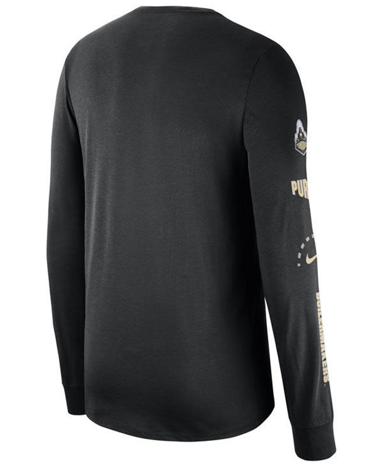 9af690aa7dc Lyst - Nike Purdue Boilermakers Long Sleeve Basketball T-shirt in Black for  Men