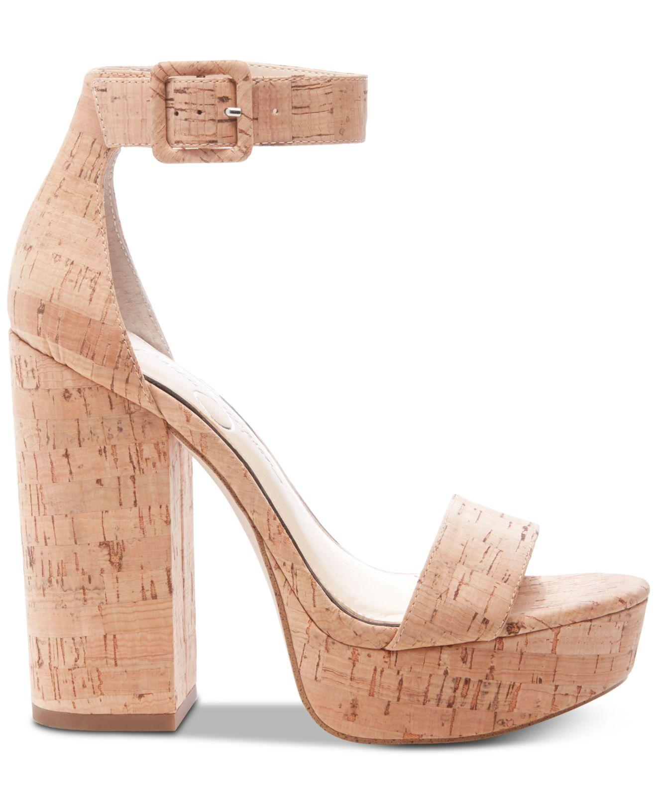 8fc82afd75 Jessica Simpson Caiya Block Heel Sandal in Natural - Lyst