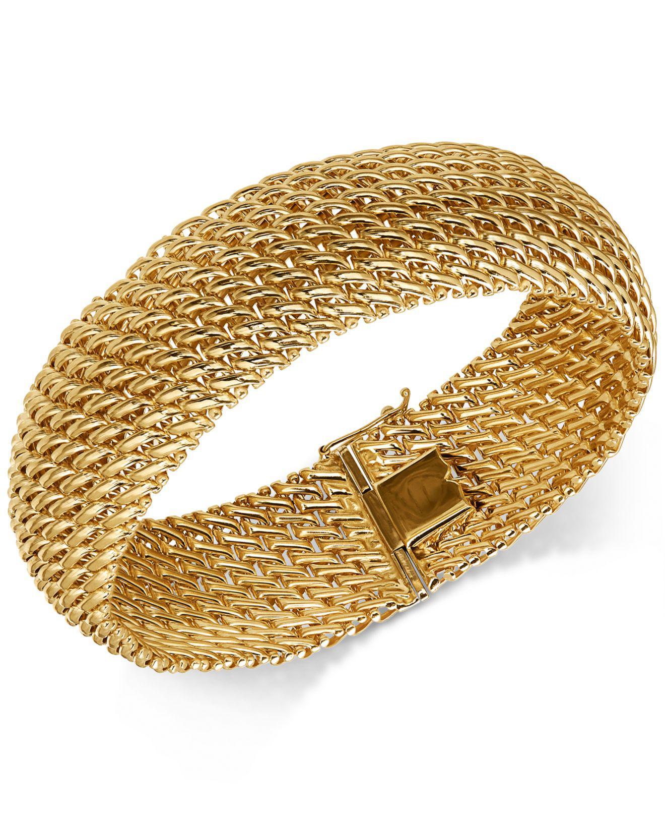 57f798ca6307 Lyst - Macy s Wide Riso Link Bracelet In 14k Gold in Metallic