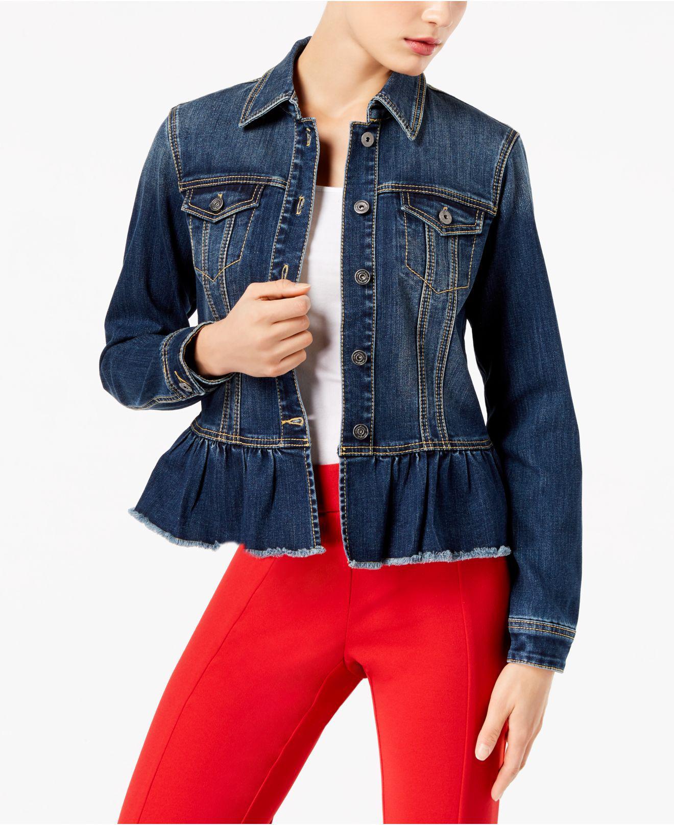 2474281e4a736 Lyst - INC International Concepts Ruffled Denim Jacket in Blue
