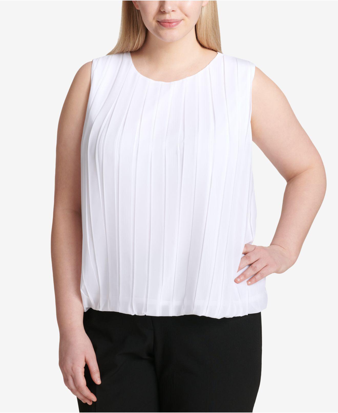 2d12cf171737e Lyst - Calvin Klein Plus Size Pleated Bubble Top in White