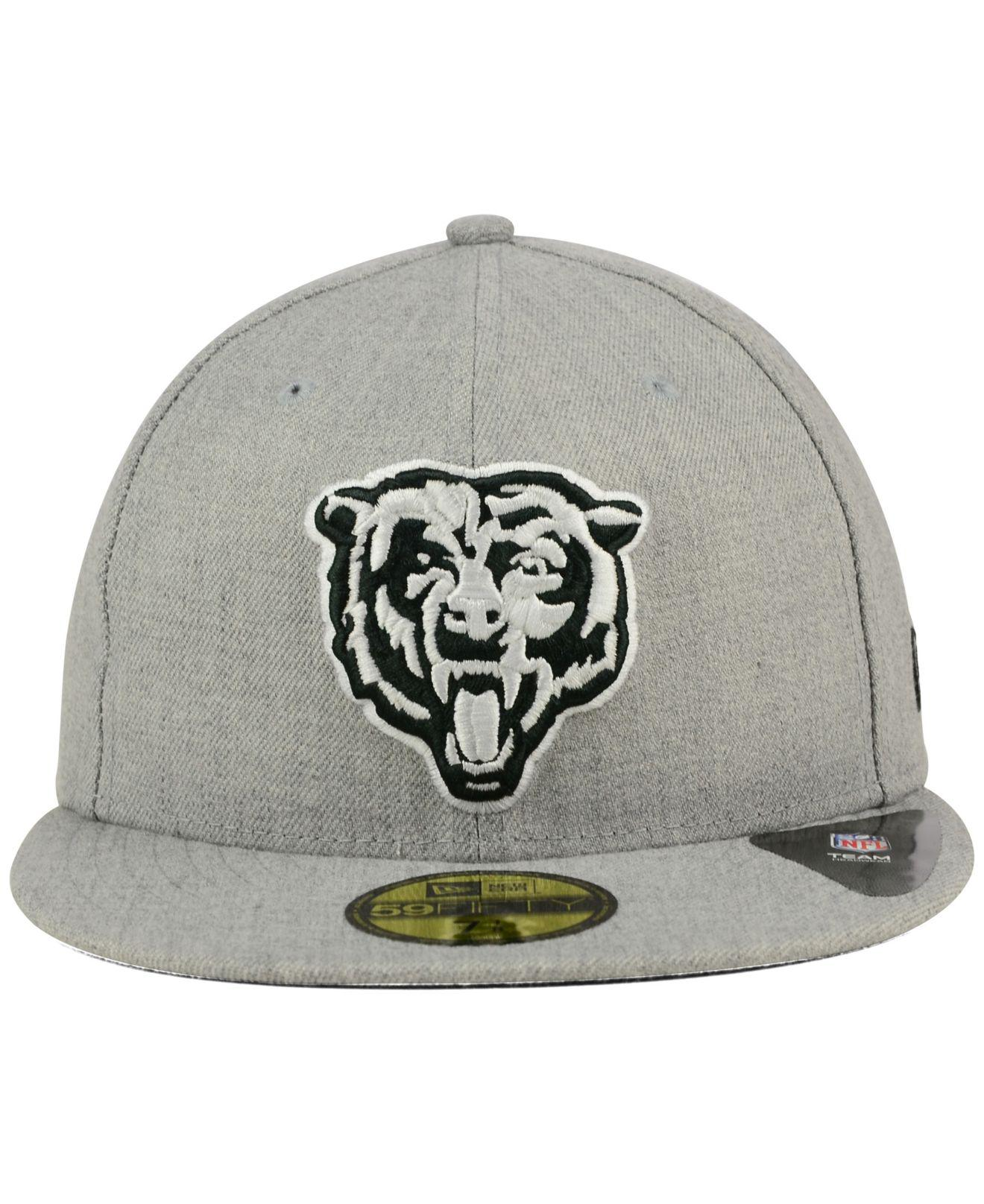 7947aa44f18 Lyst - KTZ Chicago Bears Heather Black White 59fifty Cap in Gray for Men