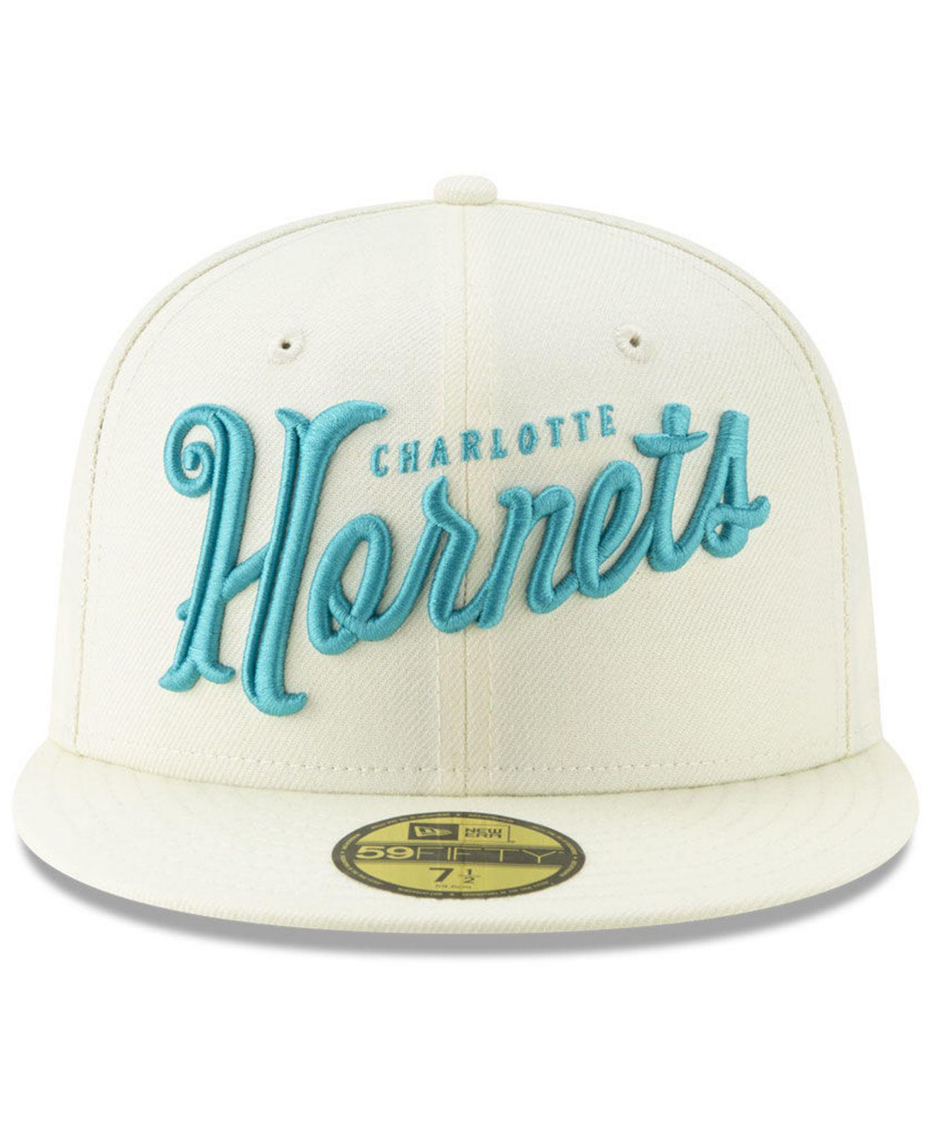best service 916e8 751fb ... discount lyst ktz charlotte hornets jersey script 59fifty fitted cap in  natural for men fbe6d fc3a9