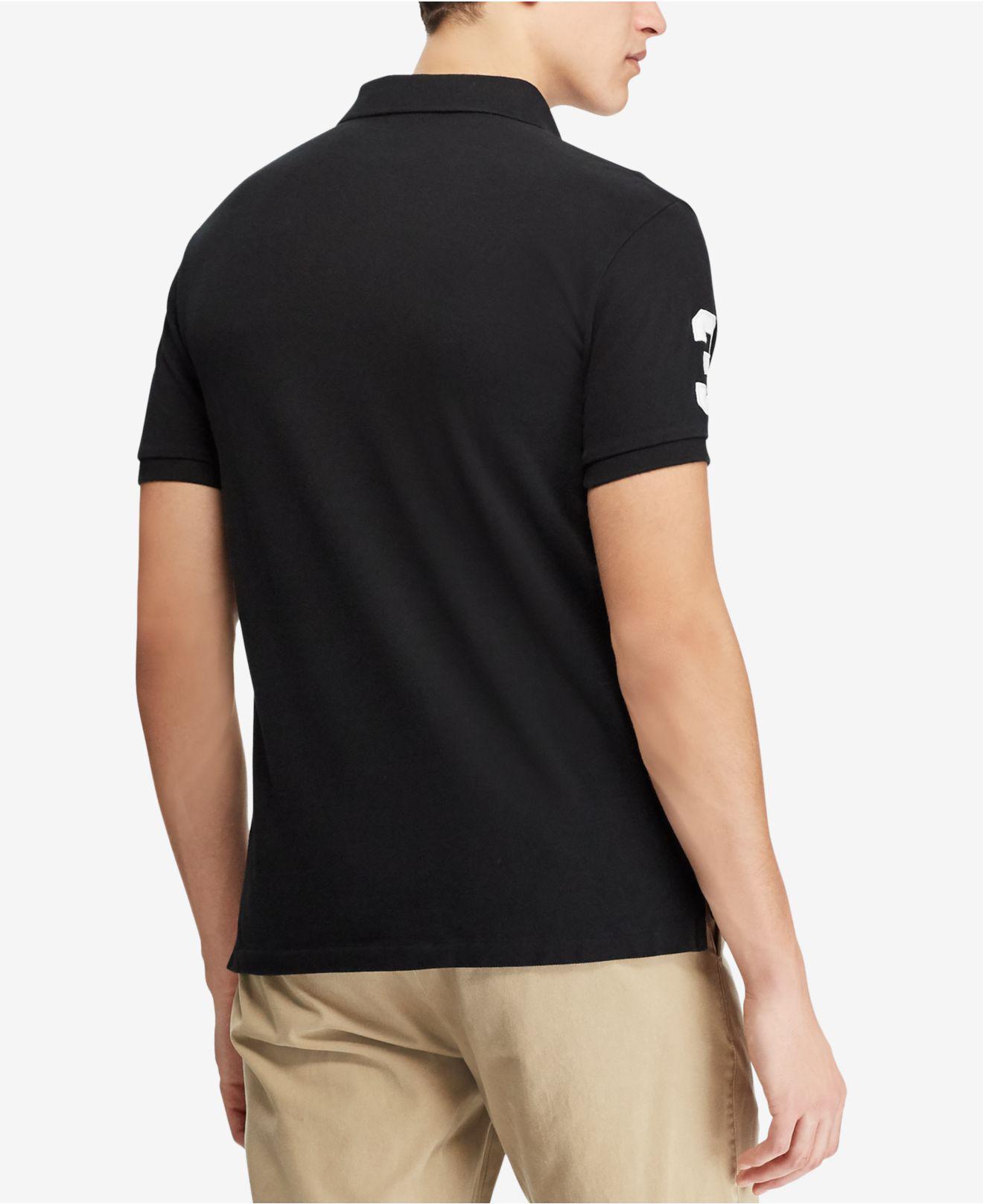 2ebbd8e5 Lyst - Polo Ralph Lauren Custom Slim Fit Polo Shirt in Black for Men - Save  45%
