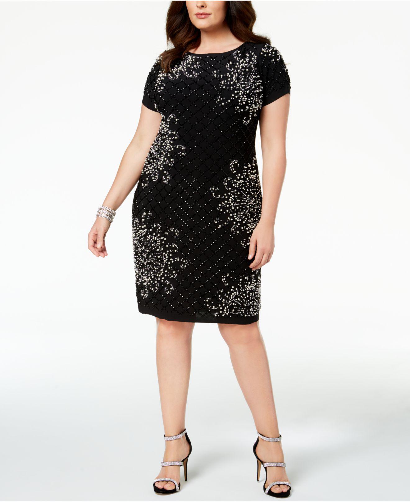 6781159ea2f Lyst - Betsy   Adam Plus Size Embellished Sheath Dress in Black