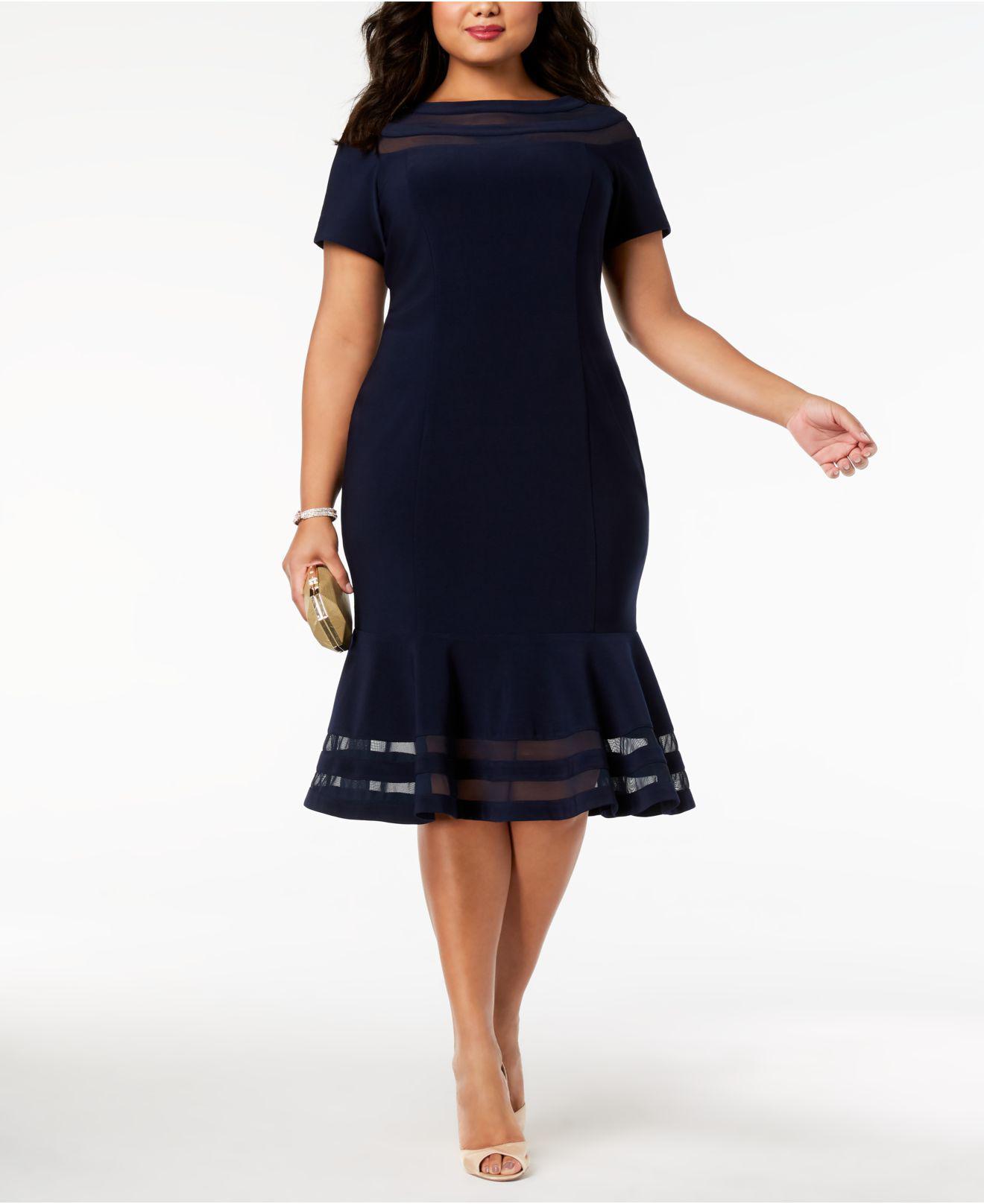 42093414db7 Xscape Plus Size Illusion-stripe Flounce Dress in Blue - Lyst