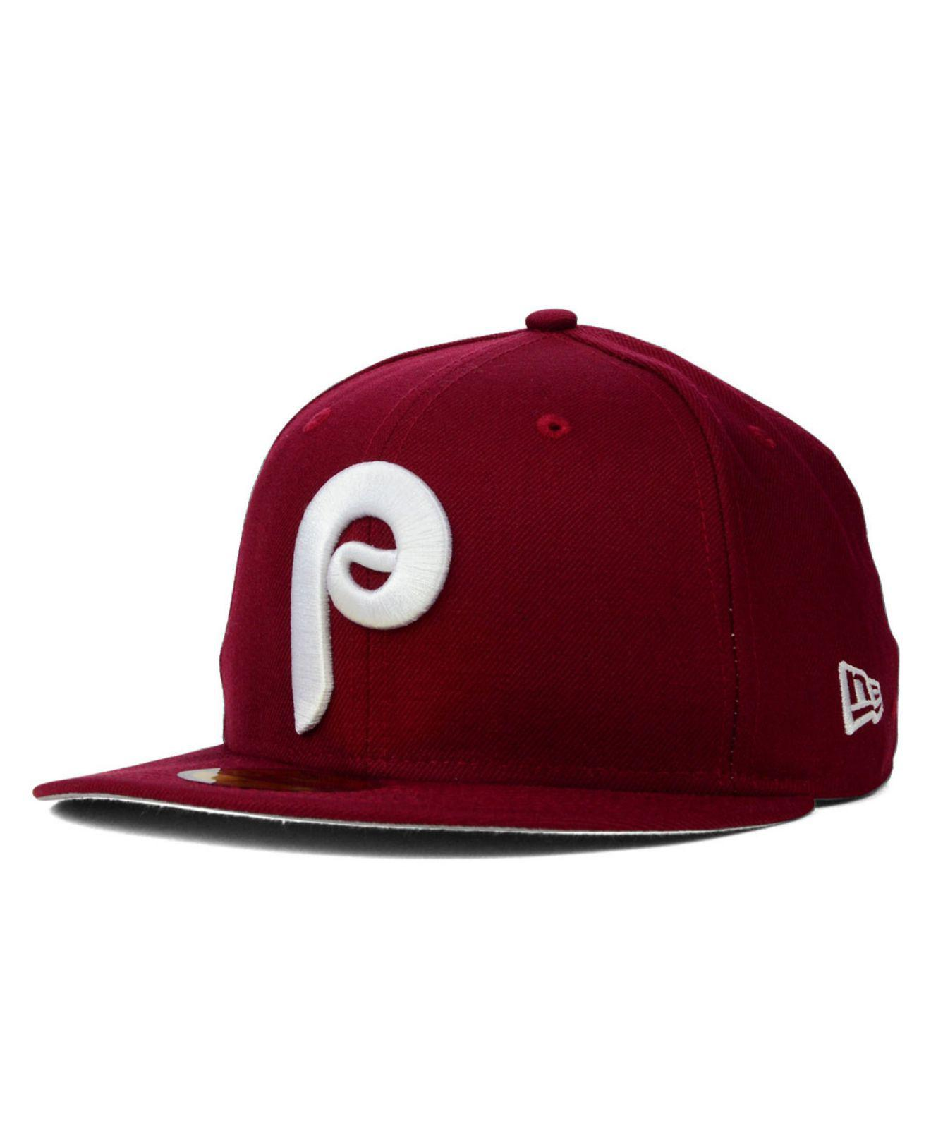 hot sale online 736fd 22ad2 KTZ - Red Philadelphia Phillies Mlb Cooperstown 59fifty Cap for Men - Lyst.  View fullscreen