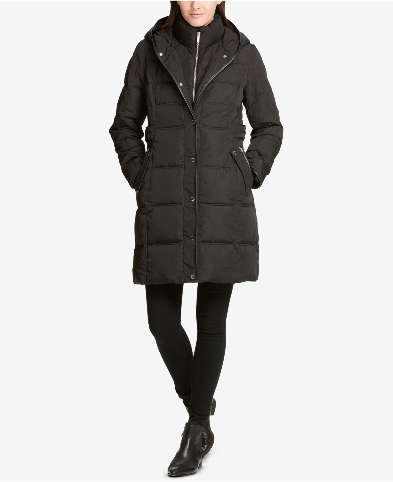 35b871822f723 DKNY. Women s Black Faux-leather-trim Hooded Puffer Coat ...