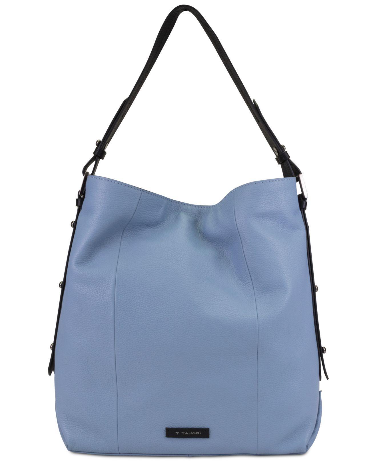 Lyst - T Tahari Parker Leather Bucket Bag in Blue 29fc707b4bd51