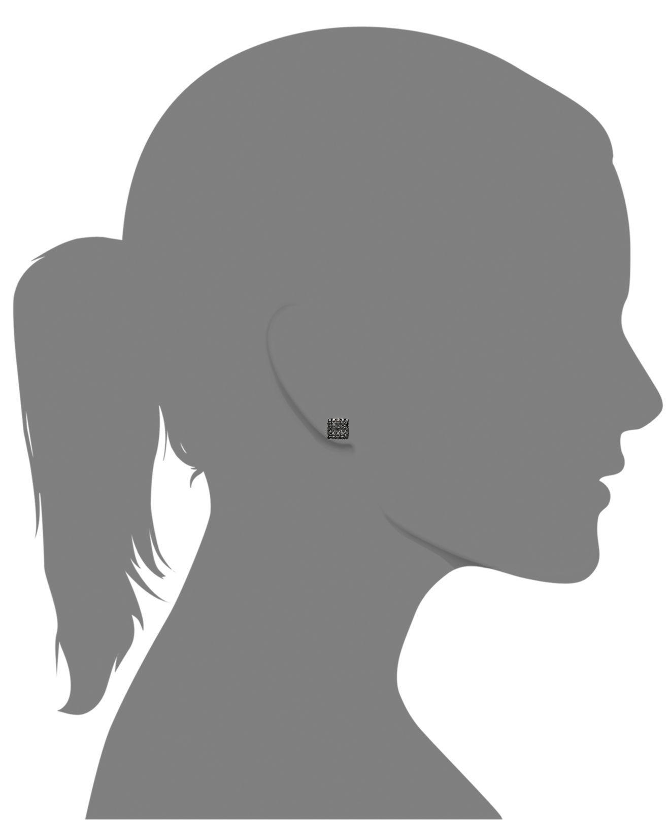 Lyst Macy S Black Diamond Square Cer Stud Earrings In Sterling Silver 1 2 Ct T W Metallic