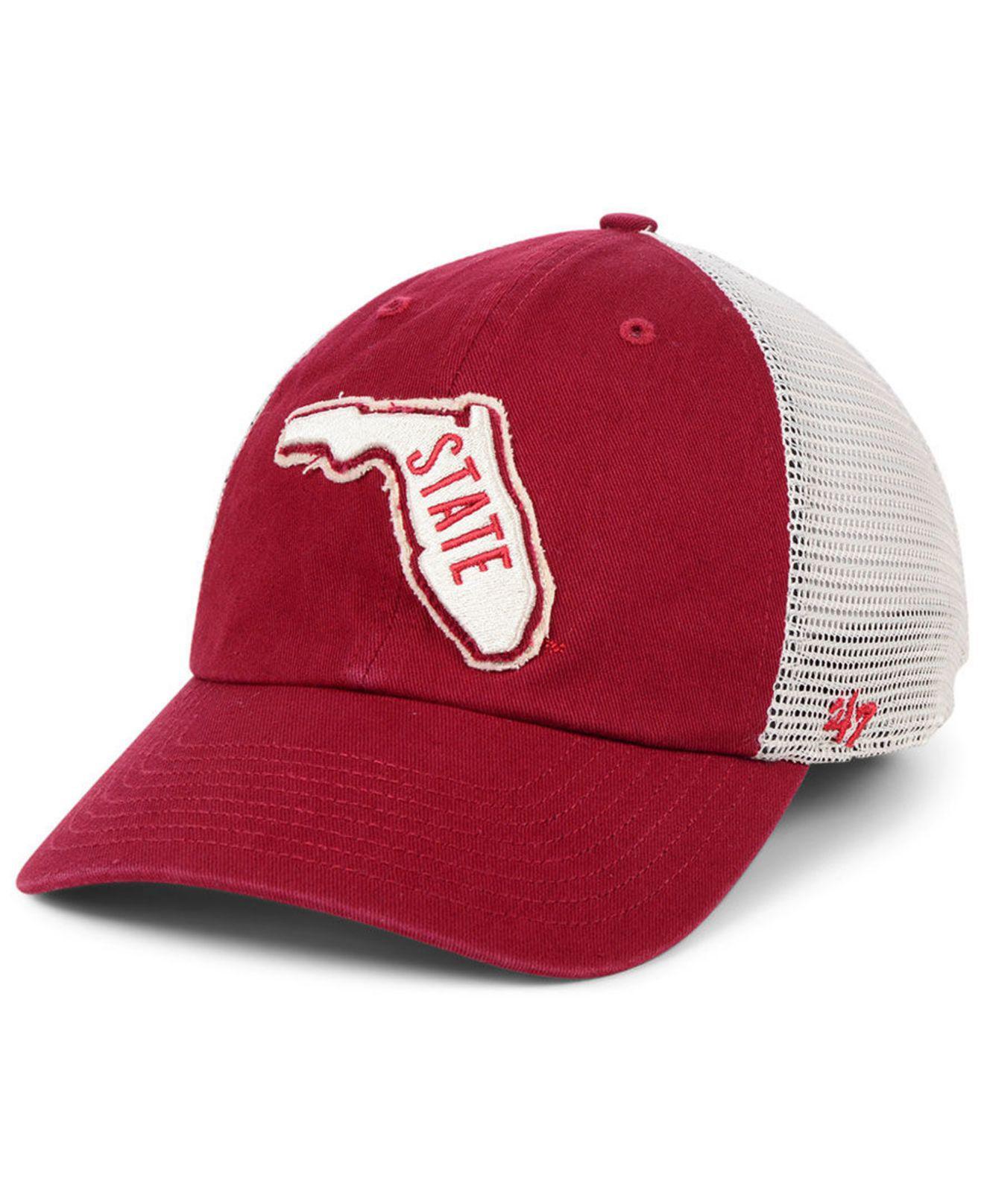 24335894e6d 47 Brand. Men s Red Florida State Seminoles Stamper Closer Stretch Fitted  Cap