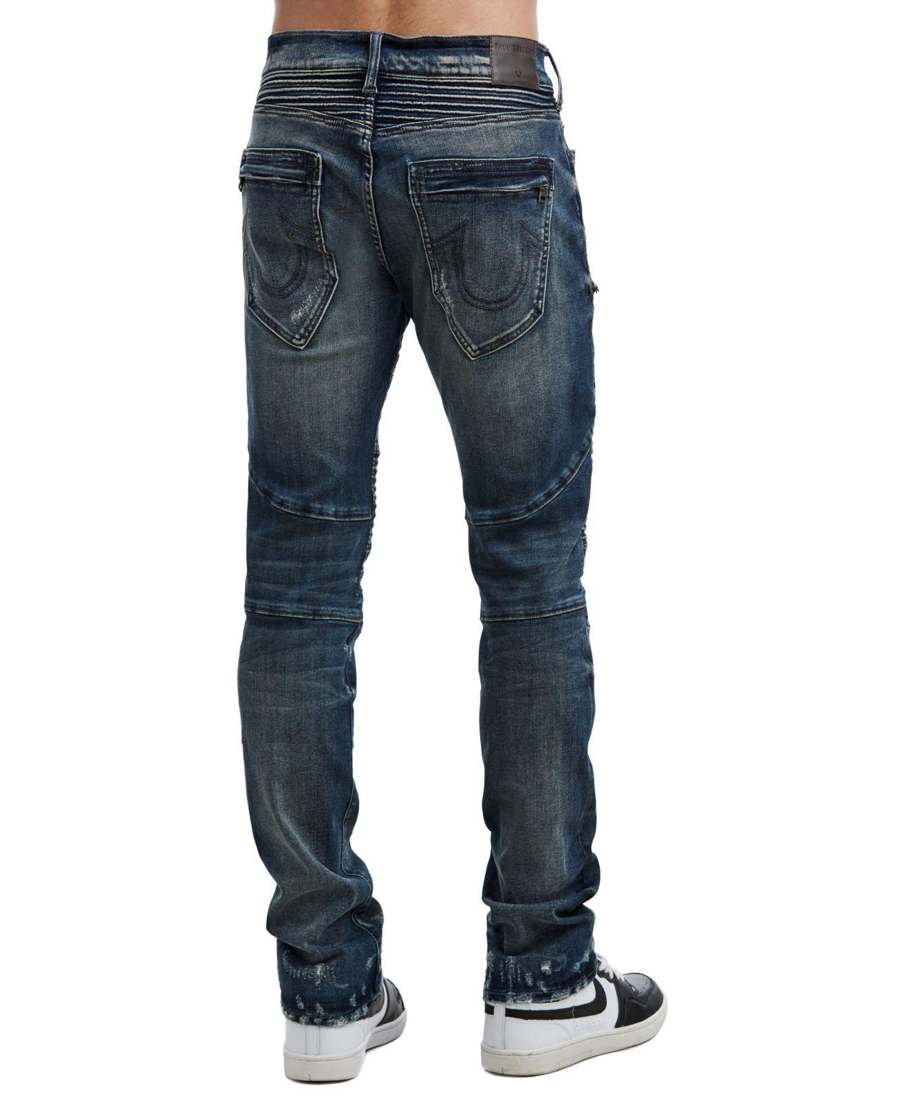 38097997 True Religion Rocco Classic Moto Jeans in Blue for Men - Lyst