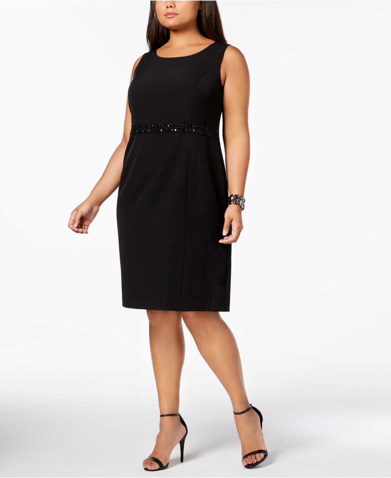 ce881c609c044 Lyst - Kasper Plus Size Embellished-waist Sheath Dress in Black