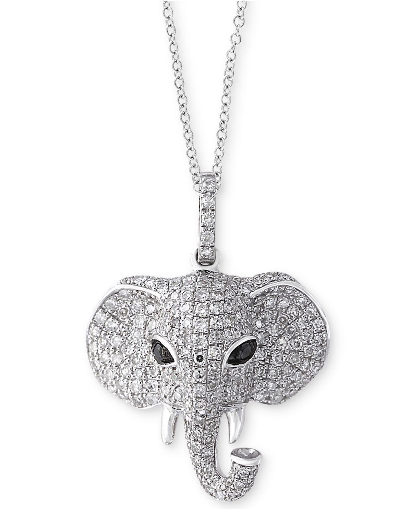 Lyst effy collection diamond elephant pendant necklace 34 ct effy collection womens metallic diamond elephant pendant aloadofball Images