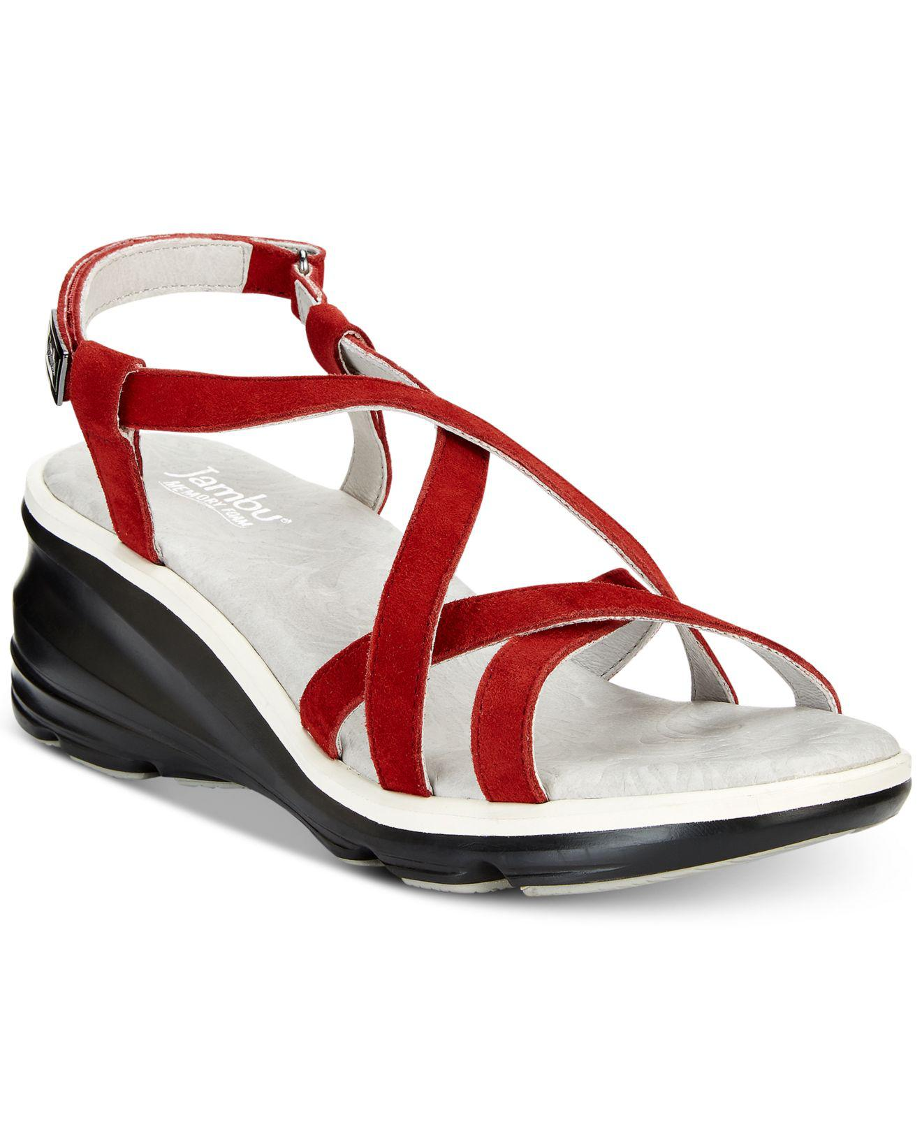 9e43a72af0d Lyst - Jambu Ginger Strappy Wedge Sandals in Red