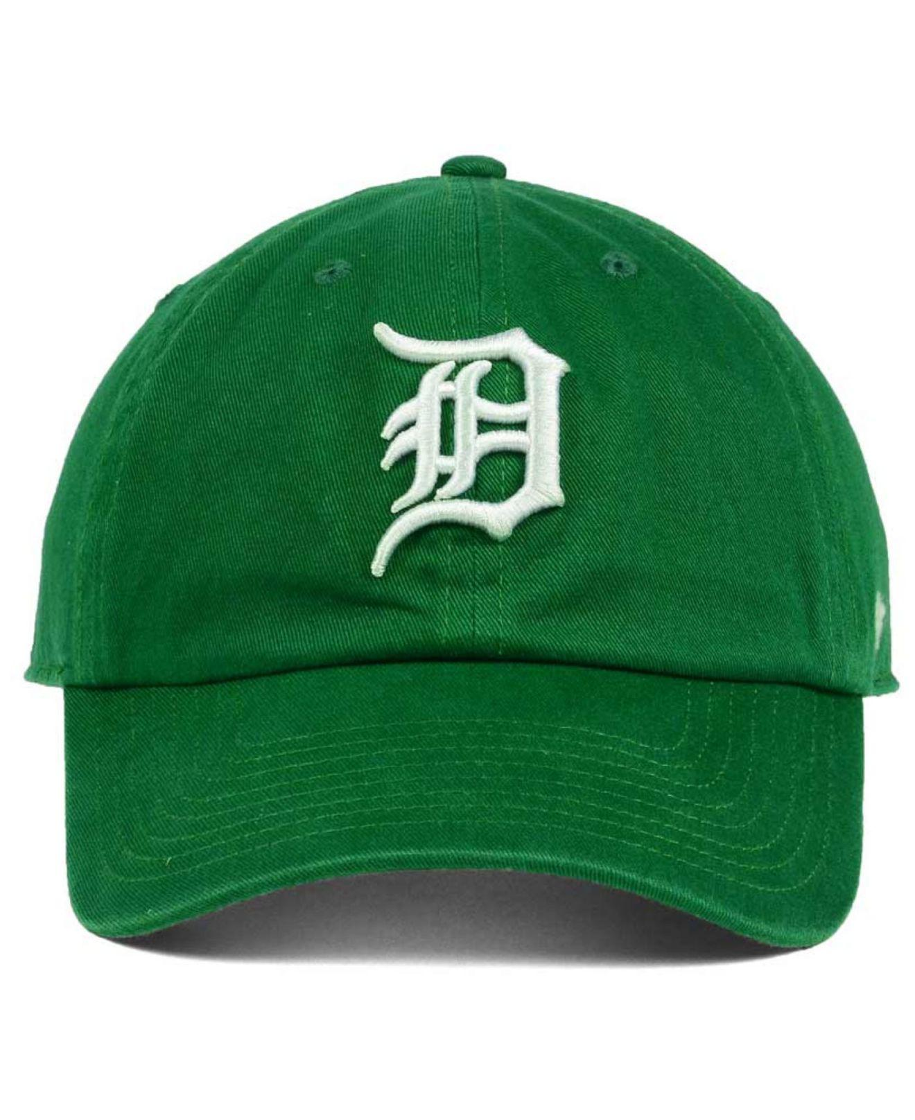 466150a3 ... buy lyst 47 brand detroit tigers kelly white clean up cap in green for  men ac57d