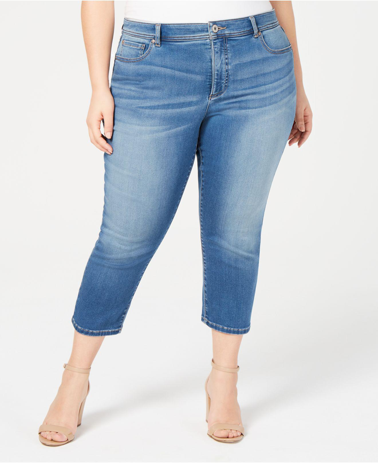 1975517410649 INC International Concepts. Women s Blue I.n.c. Plus Size Incfinity Cropped  Skinny Jeans ...