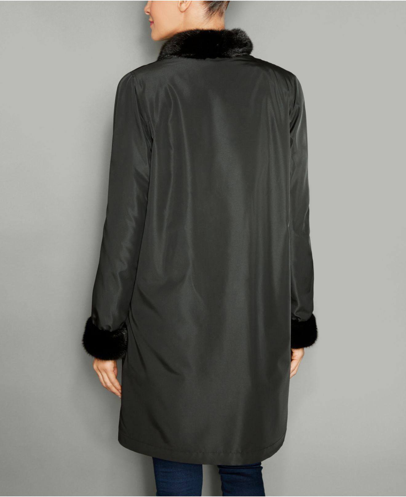 ed1fab74672 Lyst - The Fur Vault Mink-fur Reversible Coat in Black