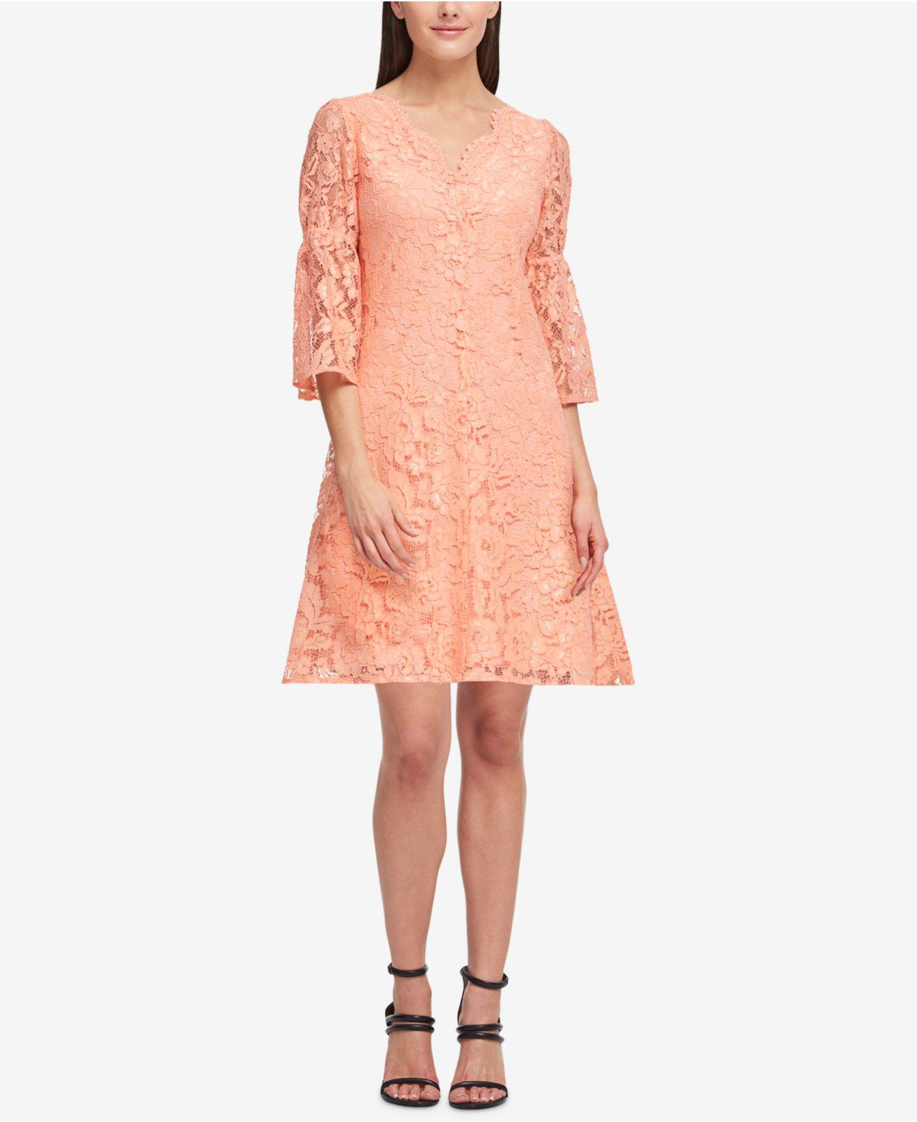 8b9bab94c544 Macys Pink Lace Dress