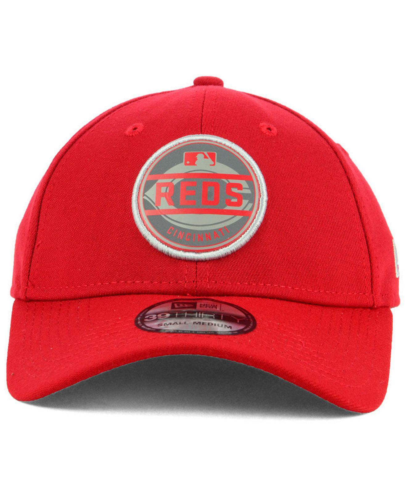 new products 1472f 65b25 ... 50% off lyst ktz cincinnati reds circle reflect 39thirty stretch fitted  cap in red for