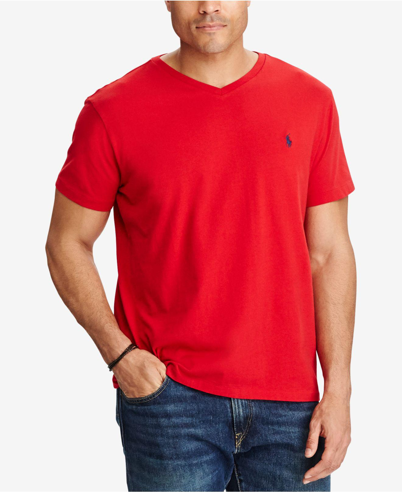 2acd68ca3 Polo Ralph Lauren. Men s Red Big And Tall Classic-fit V-neck Short-sleeve  Cotton Jersey T-shirt