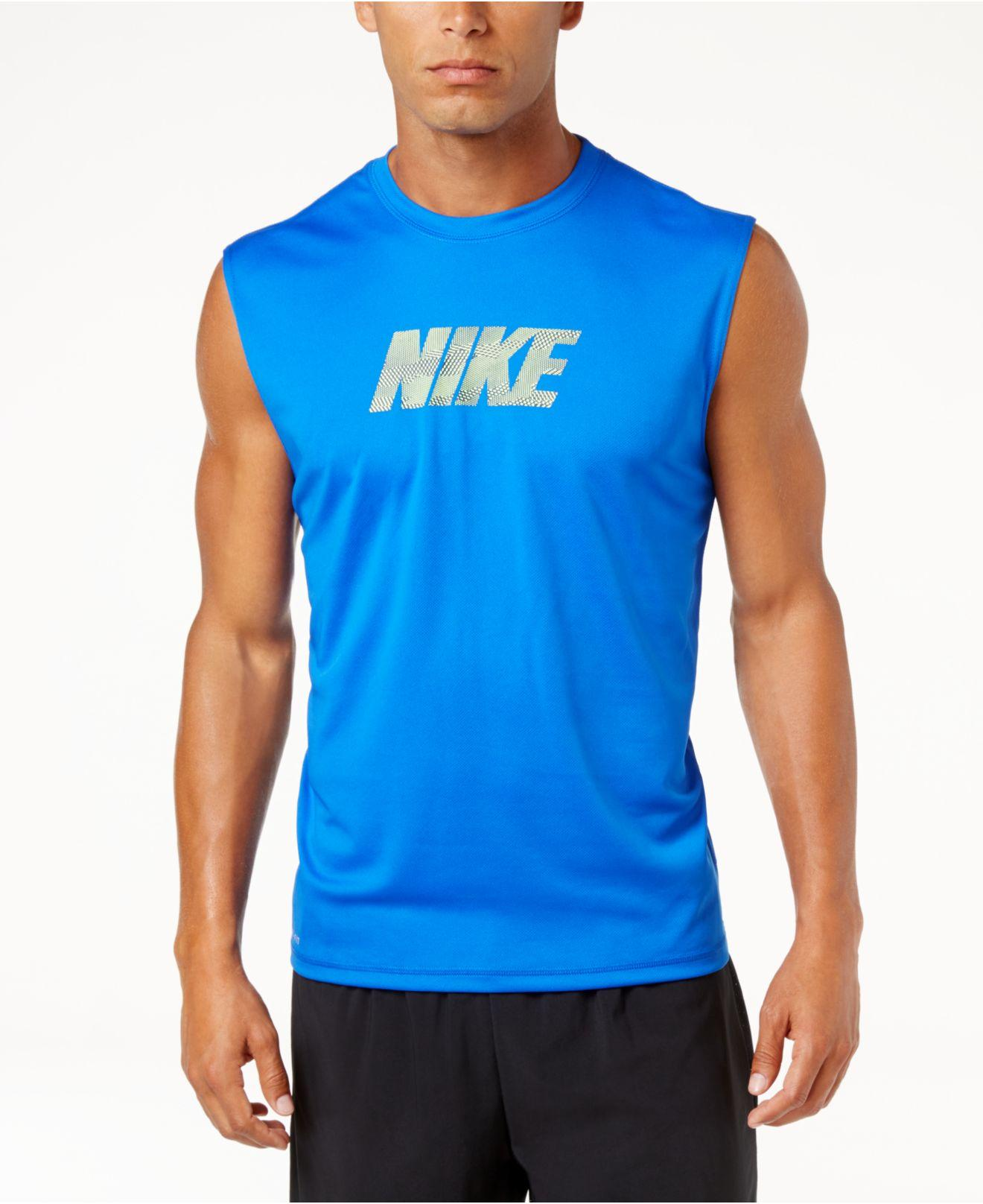 Nike men 39 s graphic print sleeveless t shirt in blue for for Sleeveless graphic t shirts