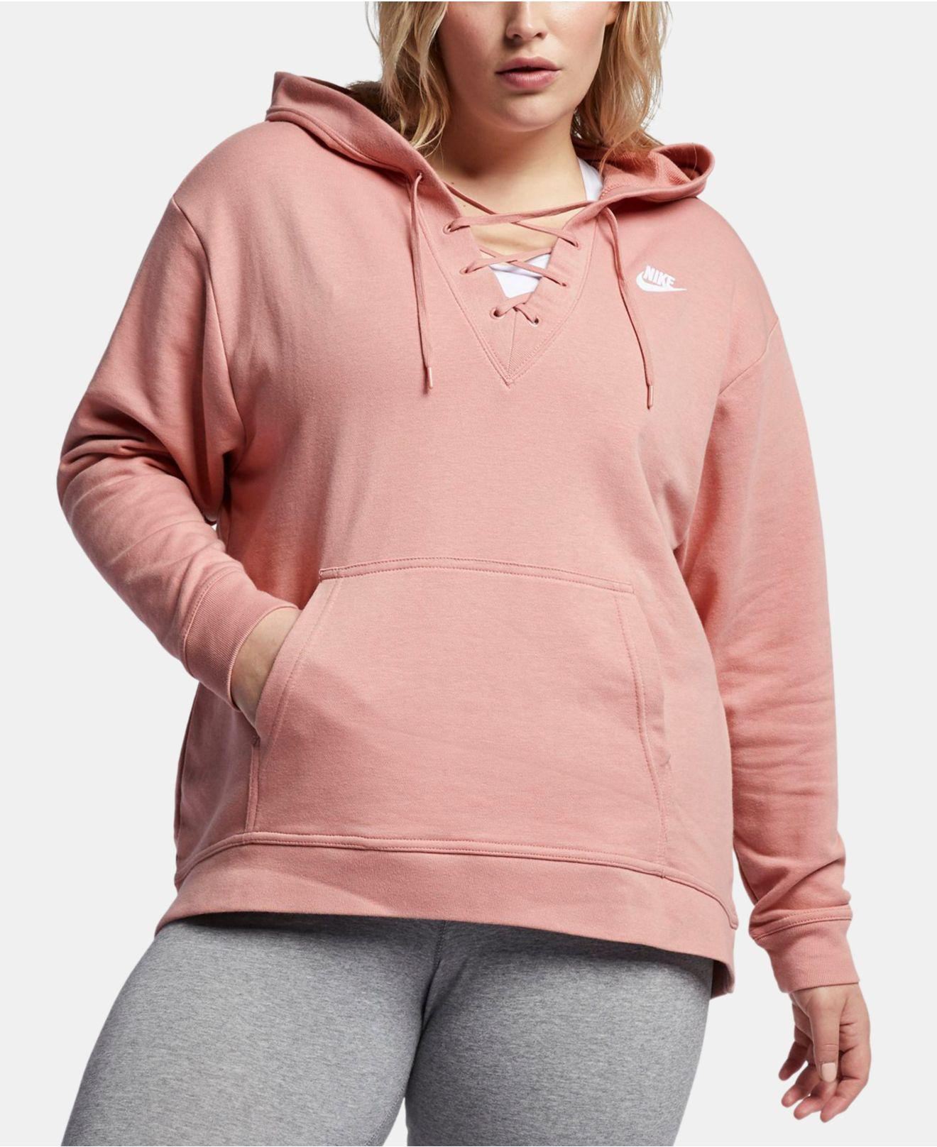 4d8e453ccc587 Lyst - Nike Plus Size Sportswear Lace-up Hoodie in Pink