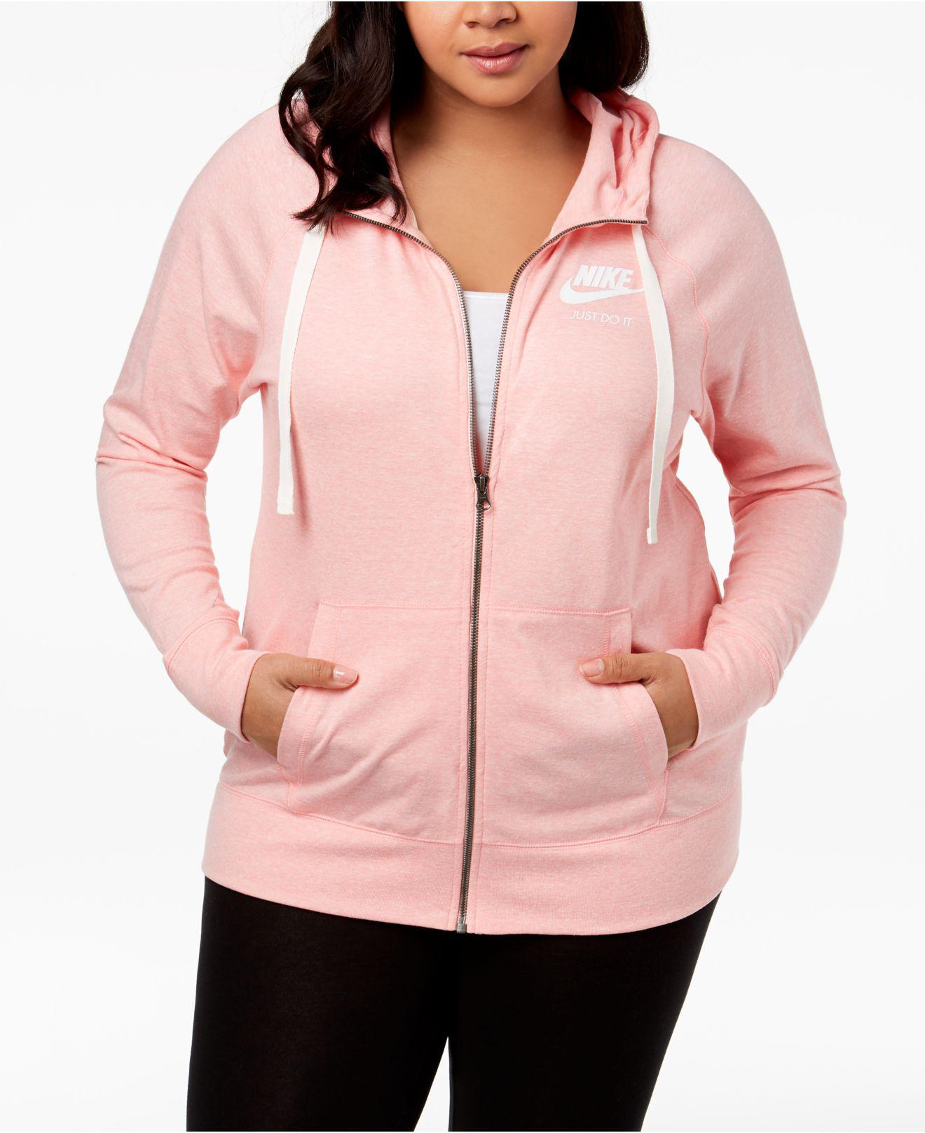 ee5cc6ab7e5 Lyst - Nike Plus Size Sportswear Gym Vintage Hoodie in Pink