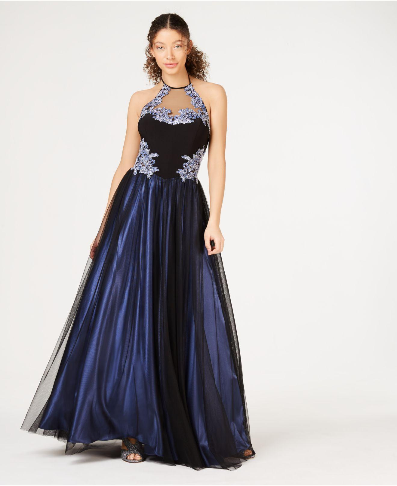 7df16aa5214c3 Blondie Nites Juniors' Sequined Appliqué Halter Gown in Blue - Lyst