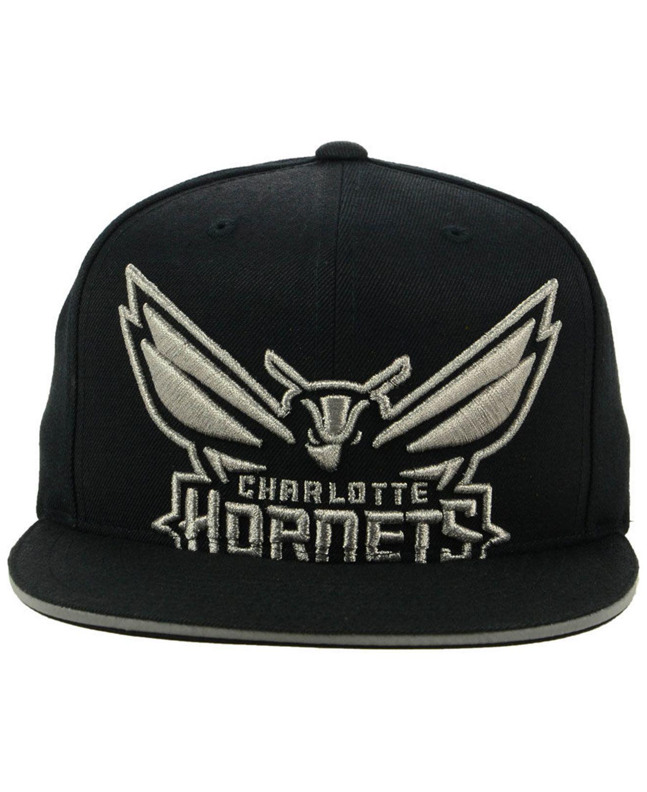 reputable site 2064a d4c61 ... coupon for lyst mitchell ness charlotte hornets cropped metallic snapback  cap in black for men 4db81