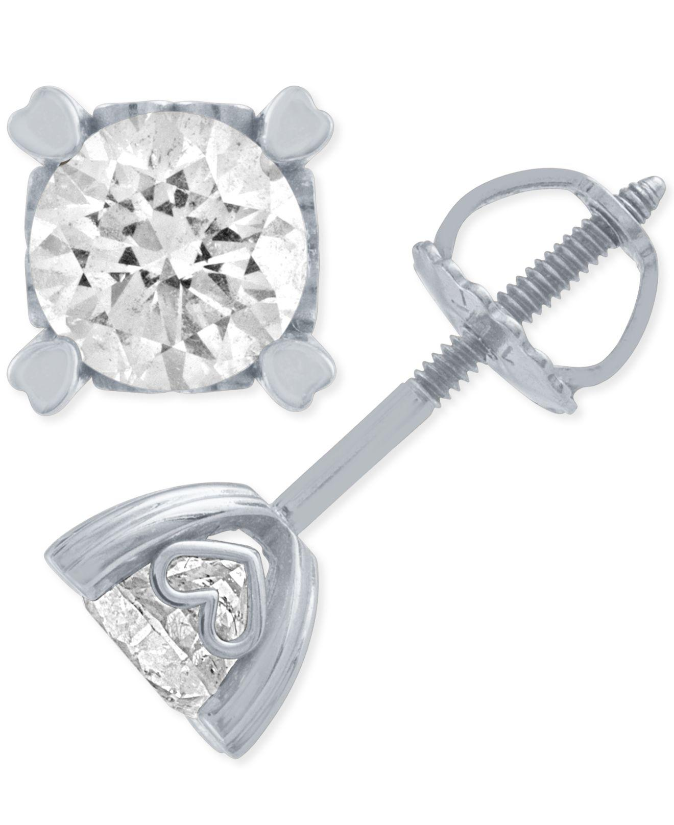0c07a967a26 Macy s. Women s Metallic Diamond Stud Earrings In Heart Shape Prongs ( 1 Ct.  T.w.) In 14k White Gold