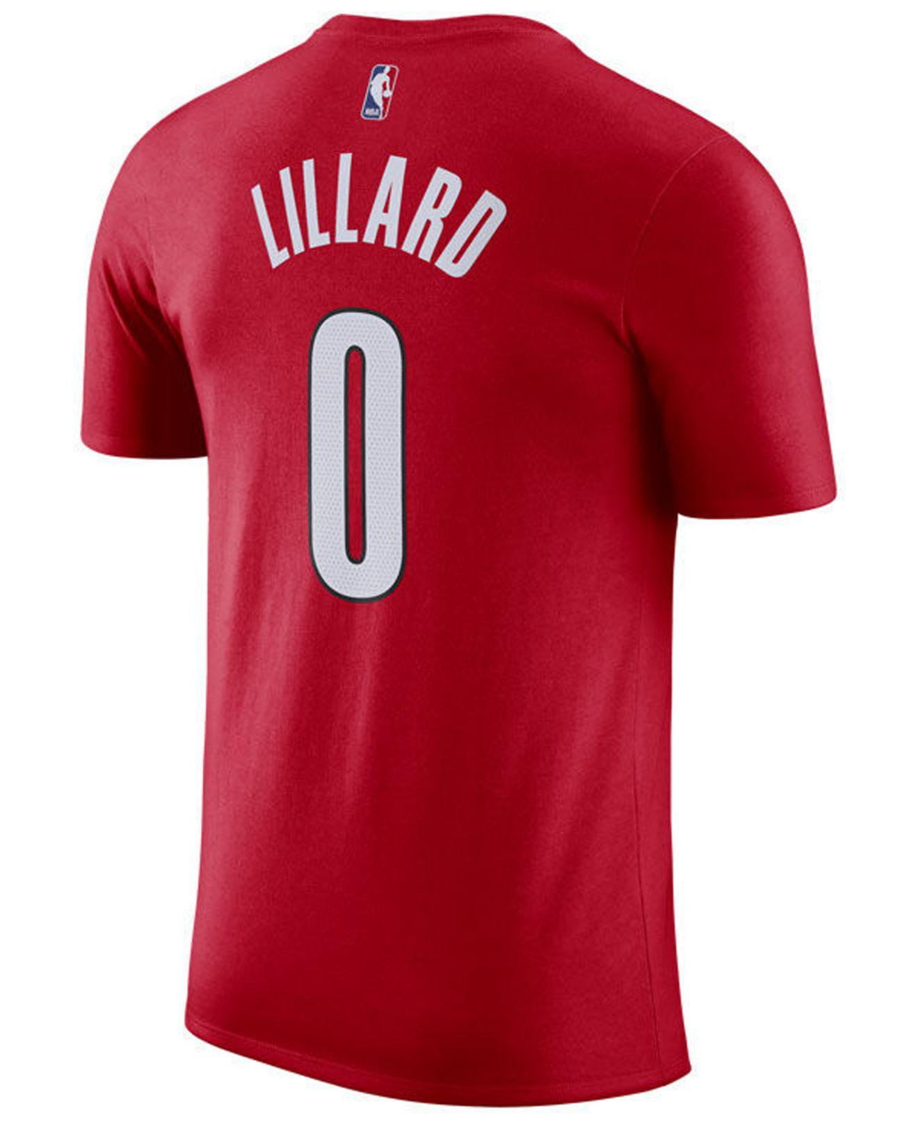 88f0c7b0f9e Nike. Men s Red Damian Lillard Portland Trail Blazers Earned Edition Player  T-shirt