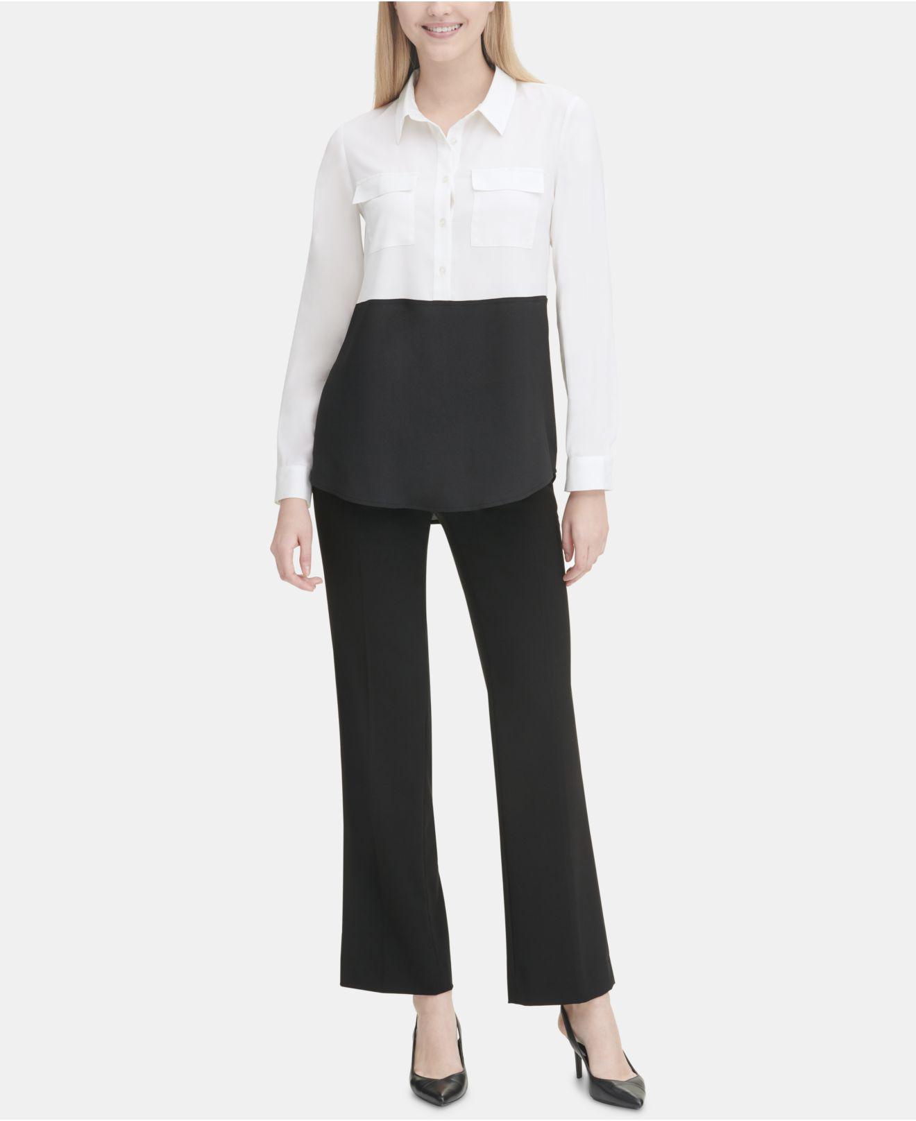 0291ce38 Calvin Klein - Black Colorblock Button Down Tunic - Lyst. View fullscreen