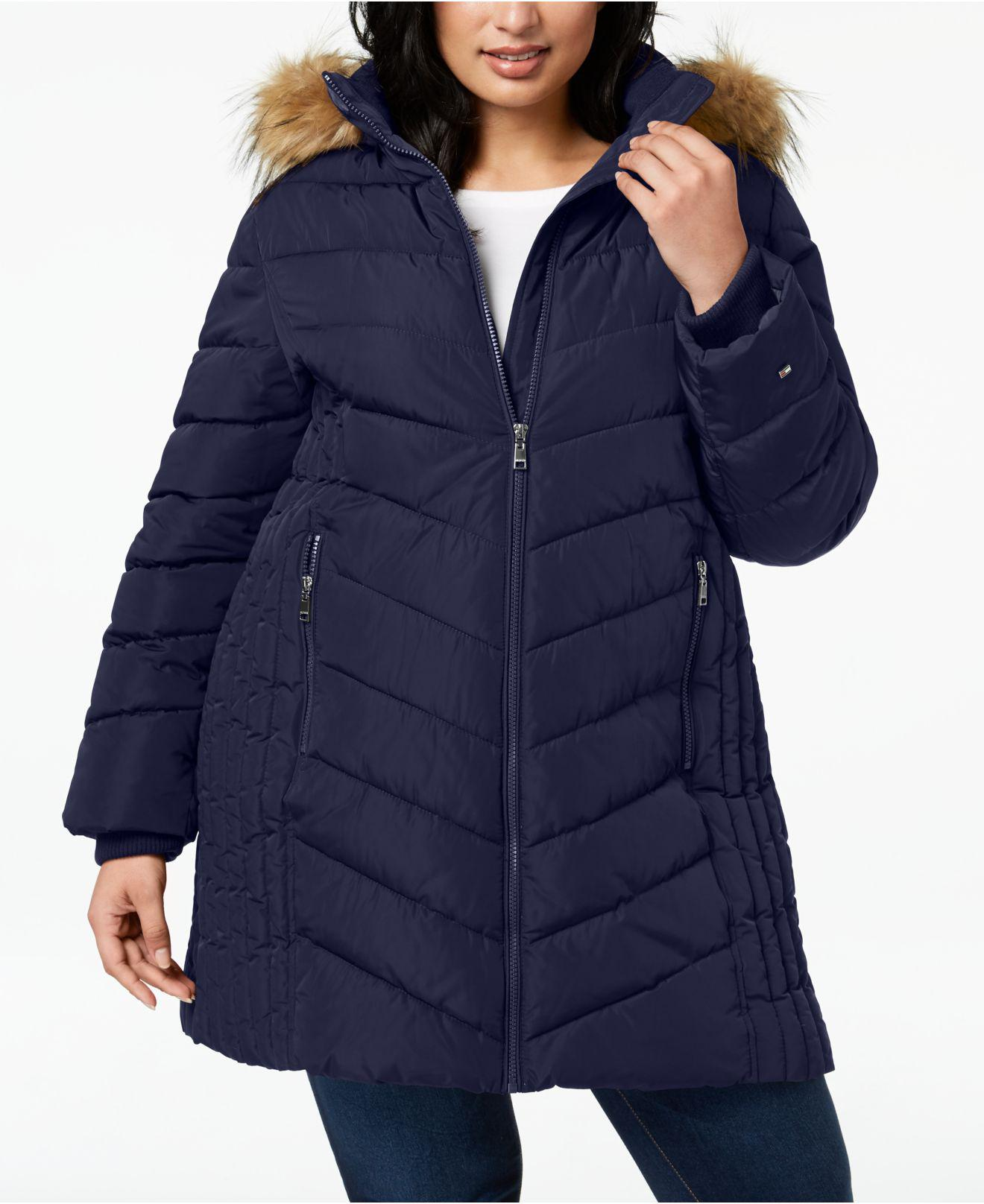 743d741a701fb Lyst - Tommy Hilfiger Plus Size Faux-fur-trim Hooded Puffer Coat in ...