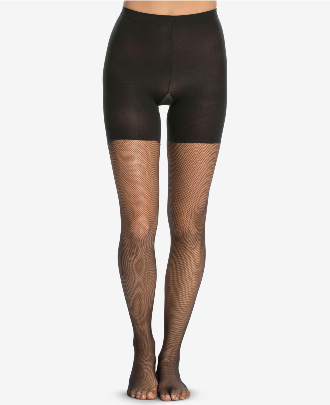 8e1589c731644 Lyst - Spanx ® Micro-fishnet Mid-thigh Shaping Tights in Black
