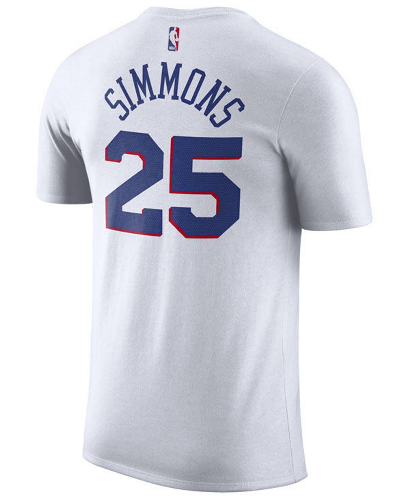 Lyst - Nike Ben Simmons Philadelphia 76ers Association Player T-shirt in  White for Men a90d70895e4c