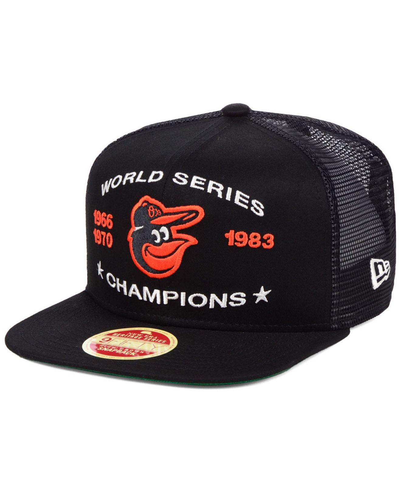 online store 1bcf1 2e117 KTZ - Black Baltimore Orioles Team Front Trucker 9fifty Snapback Cap for Men  - Lyst. View fullscreen