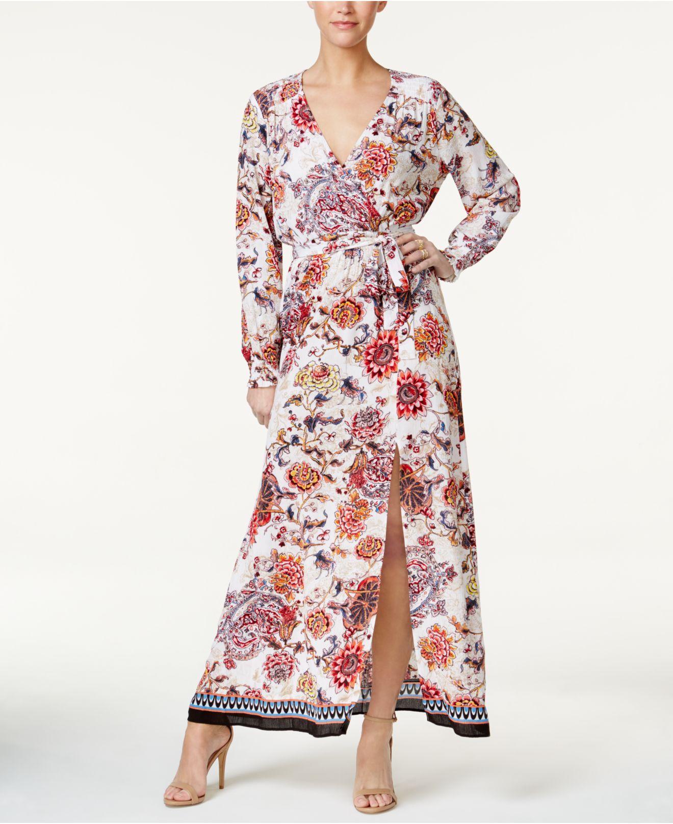 01c21770c Lyst - Eci Mixed-print Faux-wrap Maxi Dress in Red