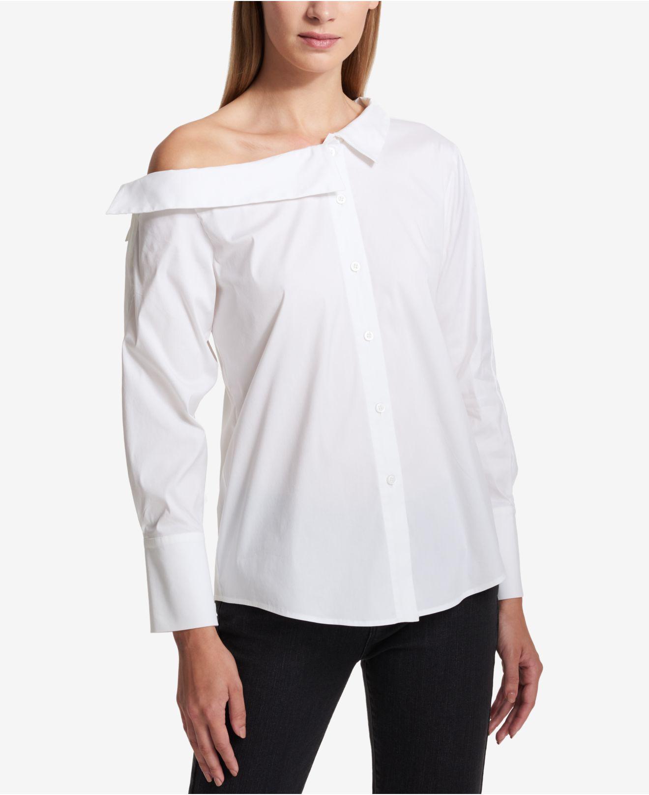 a11af8b10bdff9 Lyst - DKNY Off-the-shoulder Blouse in White