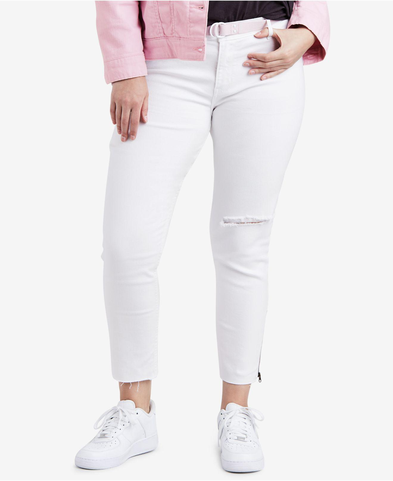 e07c44953f1 Lyst - Levi s ® Plus Size 711 Ripped Skinny Ankle Jeans in White