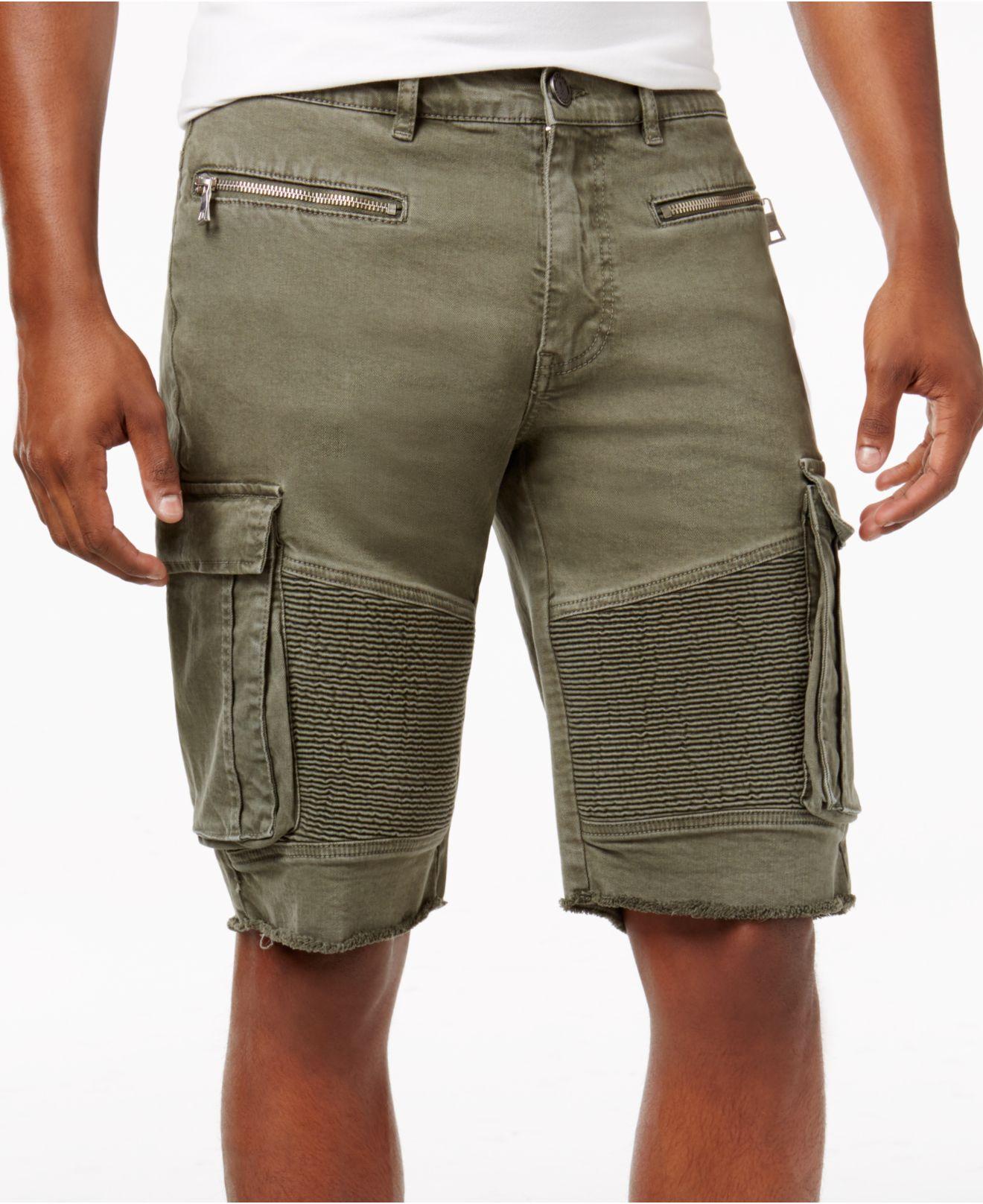 Lyst Reason Men S Cargo Pocket Moto Shorts In Green For Men