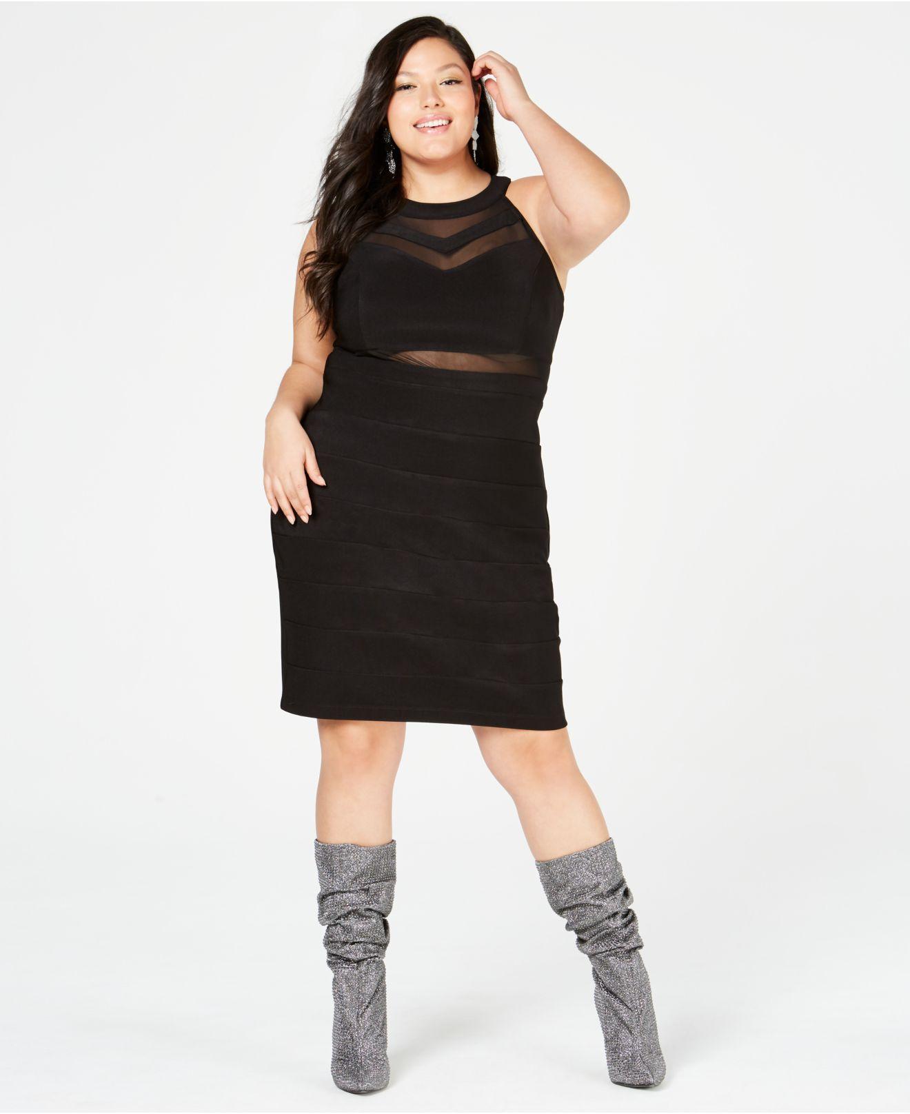 Emerald Sundae Trendy Plus Size Illusion Bandage Dress in ...
