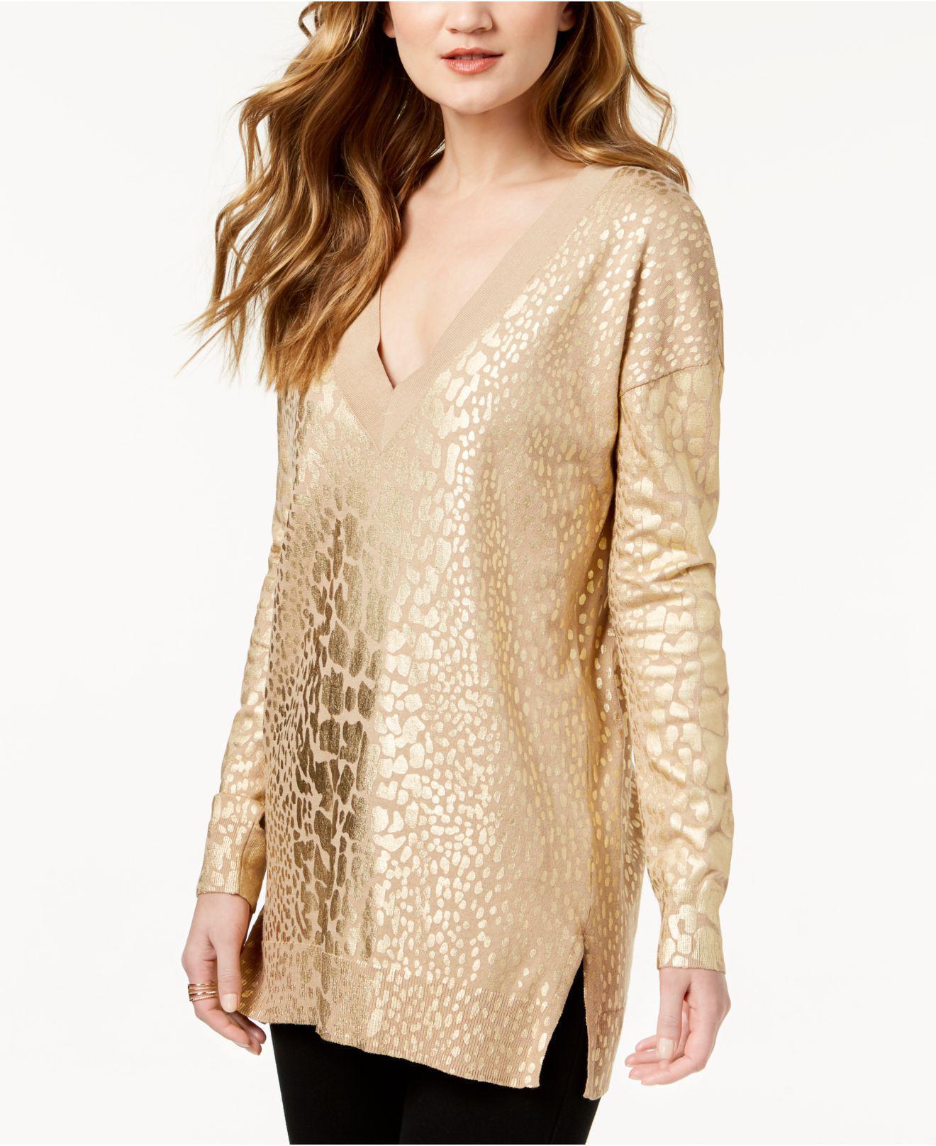 d606f536972 Lyst - Michael Kors Petite Metallic-print Tunic Sweater in Metallic ...