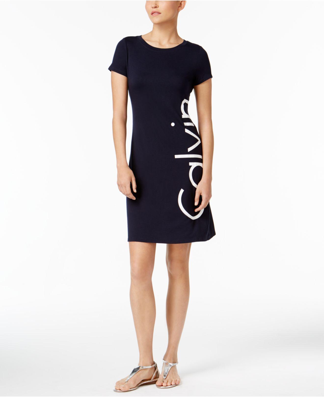 Lyst calvin klein logo t shirt dress in blue for Logo t shirt dress
